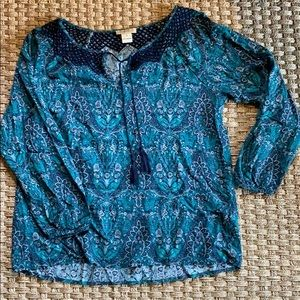 Lucky Brand Boho Peasant Blouse Size S